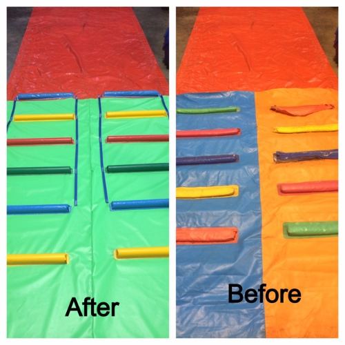 before and after of colorful inflatable ladders
