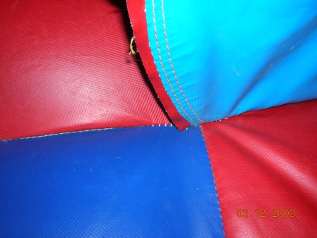 red and blue inflatable material close-up shot